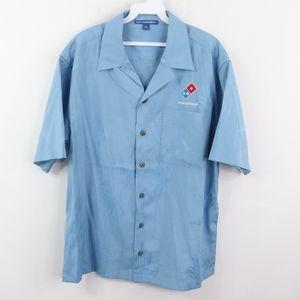 Dominos Pizza Mens Medium Floral Hawaiian Shirt